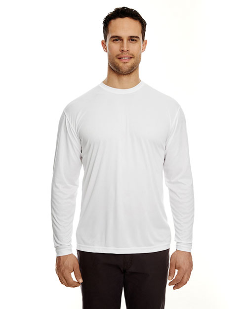 Ultraclub 8422 Cool & Dry L/S Tee White at bigntallapparel