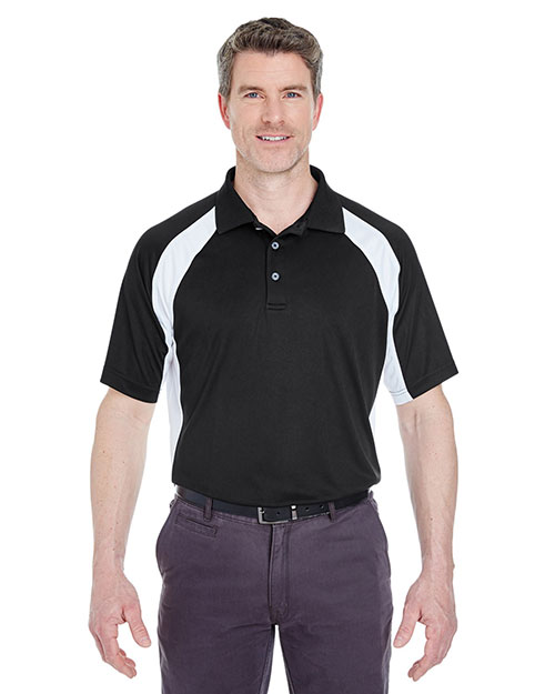 Ultraclub 8427 Two Tone Perform Polo Black/ White at bigntallapparel