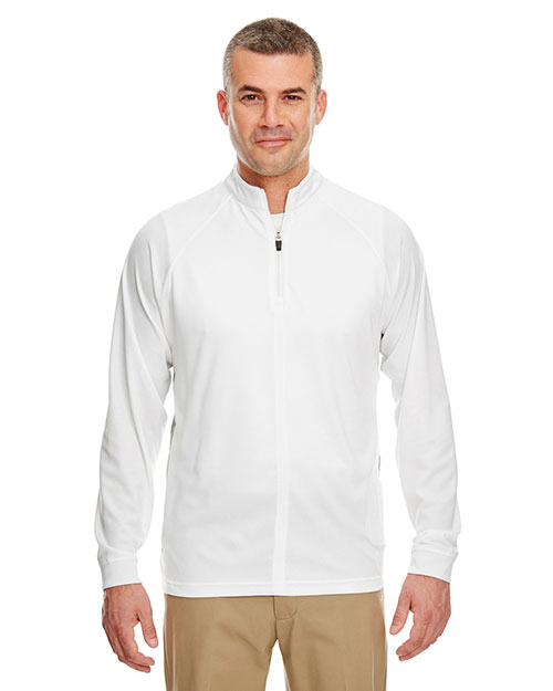 Ultraclub 8432 Cool & Dry L/S 1/4 Zip White/ Grey at bigntallapparel