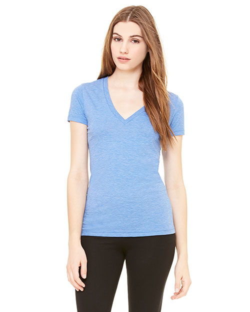 Bella 8435 Women Triblend Short-Sleeve Deep V-Neck T-Shirt Ath Blue Trblnd New at bigntallapparel