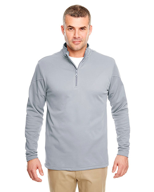 Ultraclub 8440 Poly Zip 1/4 Zp Fleece Grey at bigntallapparel