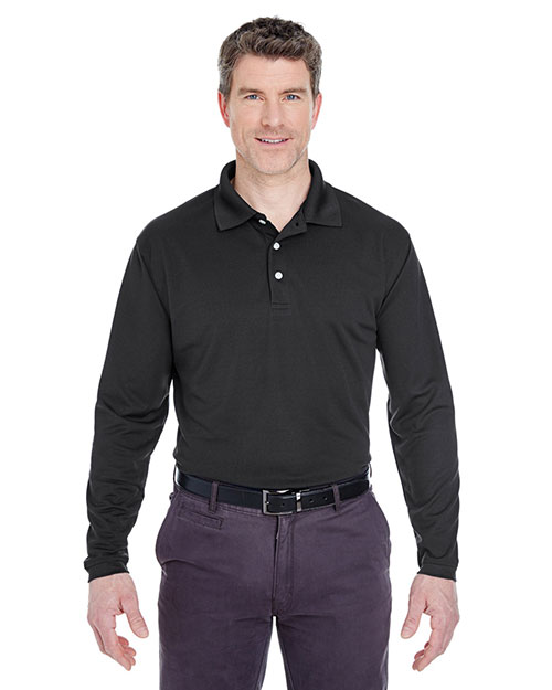 Ultraclub 8445LS     Adult Cool & Dry Long-Sleeve Stain-Release Performance Polo  Black at bigntallapparel