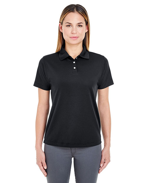 Ultraclub 8445L    ® Ladies' Cool & Dry Stain-Release Performance Polo  Black at bigntallapparel