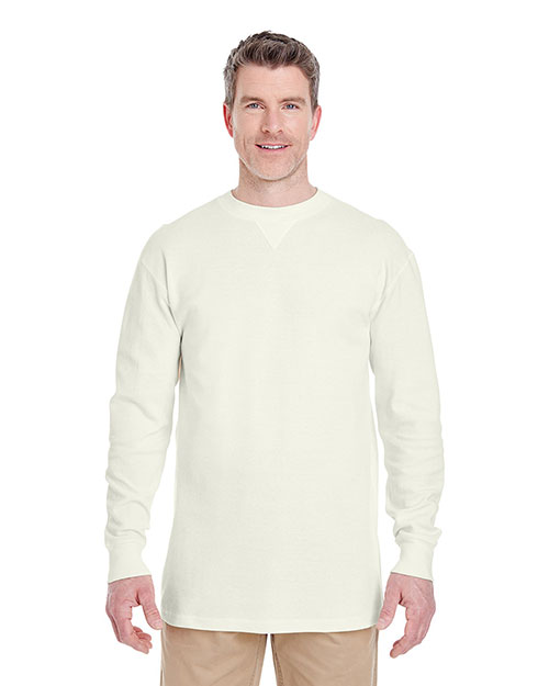 Ultraclub 8455 Men Mini Thermal Crew Off White at bigntallapparel