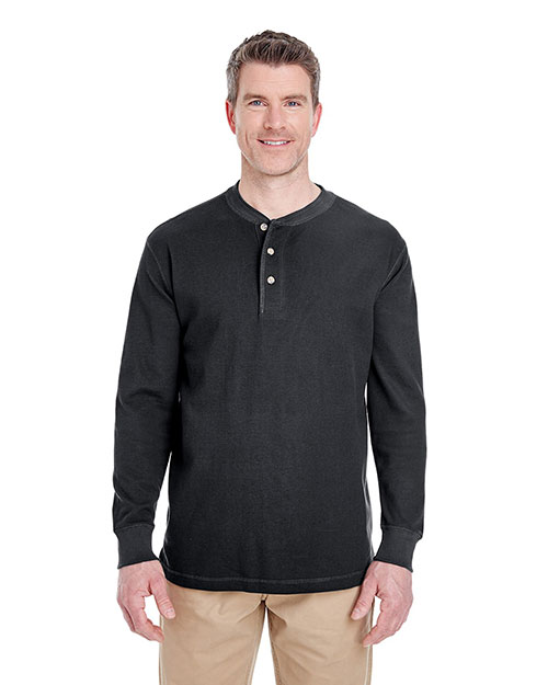 Ultraclub 8456 Thermal Henley Black at bigntallapparel