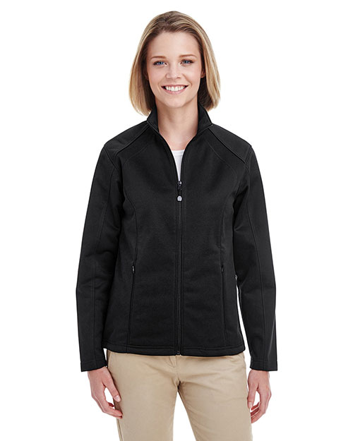 Ultraclub 8477L    ® Ladies' Soft Shell Jacket  Black at bigntallapparel