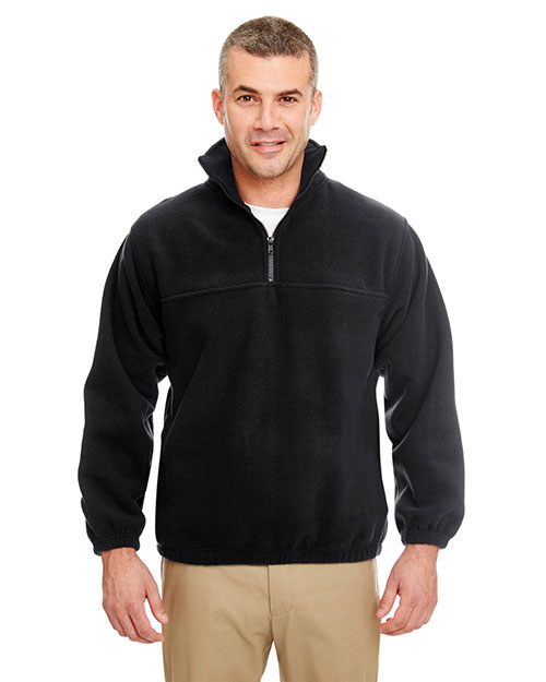 Ultraclub 8480BND   8480 ® Adult Iceberg Fleece 1/4-Zip Pullover  Black at bigntallapparel