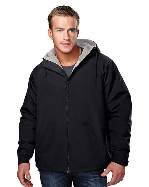 Tri-Mountain 8480 Big and Tall Mens  Nylon Hooded Jacket With Fleece Lining Black at bigntallapparel