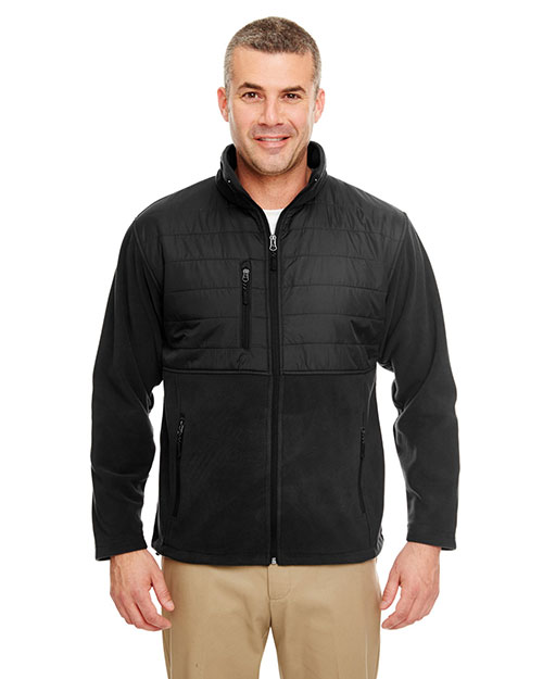 Ultraclub 8492     Adult Fleece Jacket with Quilted Yoke Overlay  Black at bigntallapparel