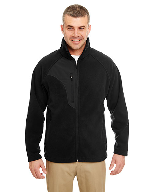 Ultraclub 8495    ® Adult Full-Zip Micro-Fleece Jacket With Pocket  Black/ Black at bigntallapparel