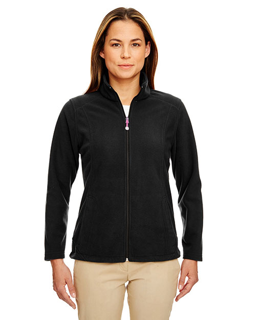 Ultraclub 8498    ® Ladies' Micro Fleece Full-Zip Jacket  Black at bigntallapparel