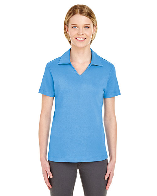 Ultraclub 8507    ® Ladies' Egyptian Interlock V-Neck Polo  Cornflower at bigntallapparel