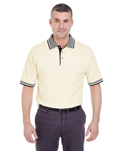 Ultraclub 8537 Striped Collar Polo Natural/ Black at bigntallapparel