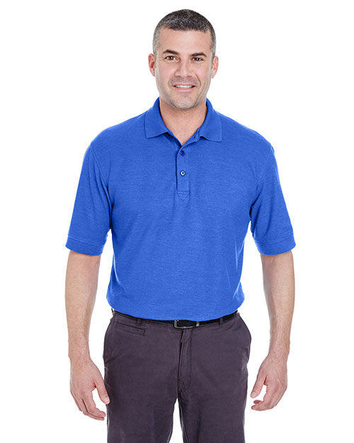 Ultraclub 8540 Men Whisper Pique Polo Royal Heather at bigntallapparel