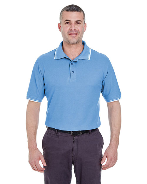 Ultraclub 8545    ® Men's Short-Sleeve Whisper Piqué Polo with Rib-Knit Collar and Cuff Tipping  Cornflower/ White at bigntallapparel