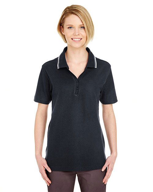 Ultraclub 8546    ® Ladies' Short-Sleeve Whisper Piqué Polo with Rib-Knit Collar Tipping  Heather/ Black (90/10) at bigntallapparel
