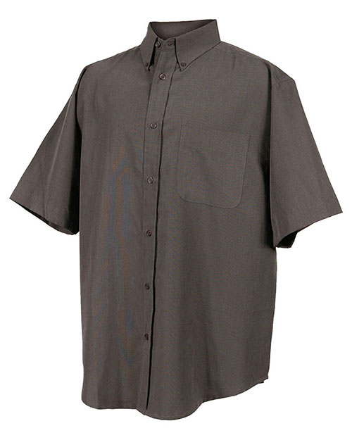 Tri-Mountain 858 Men Short Sleeve Dress Shirt With Mini Houndstooth Pattern Charcoal at bigntallapparel
