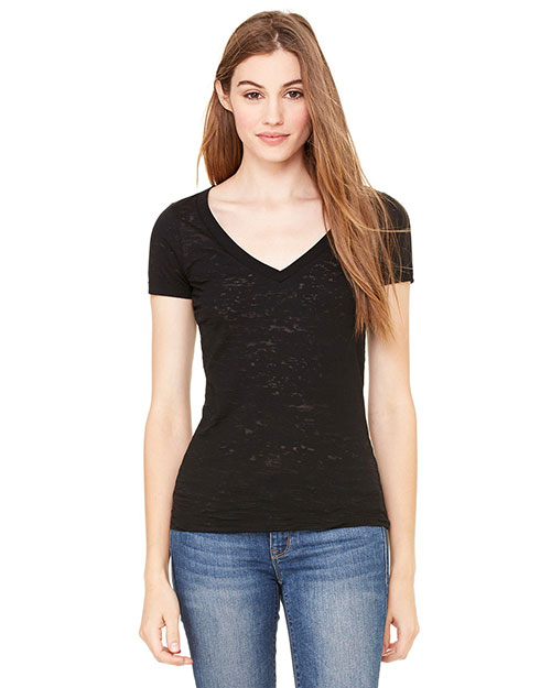 Bella 8605 Women Burnout Short-Sleeve V-Neck T-Shirt Black at bigntallapparel