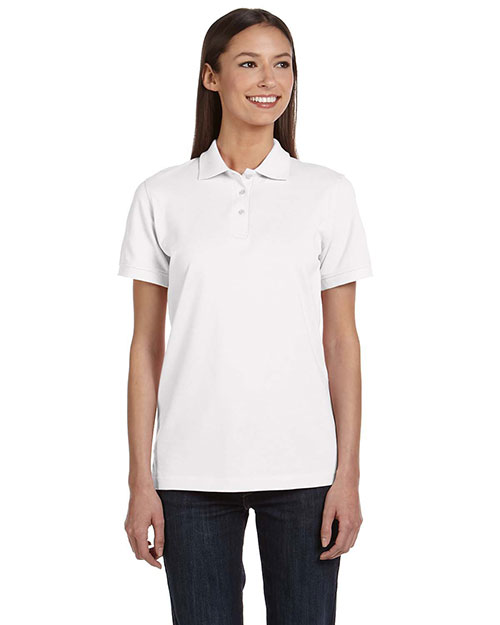 Anvil 8680A Ladies' Ringspun Piqué Polo WHITE at bigntallapparel