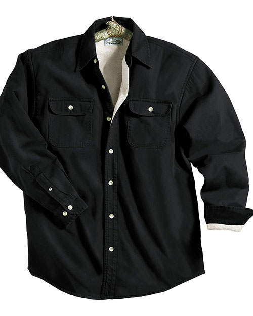 Tri-Mountain 869 Men Big And Tall   Denim Shirt Jacket With Fleece Lining Black/Khaki at bigntallapparel