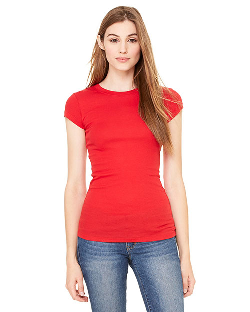 Bella 8701 Ladies' Sheer Mini Rib Short-Sleeve T-Shirt RED at bigntallapparel