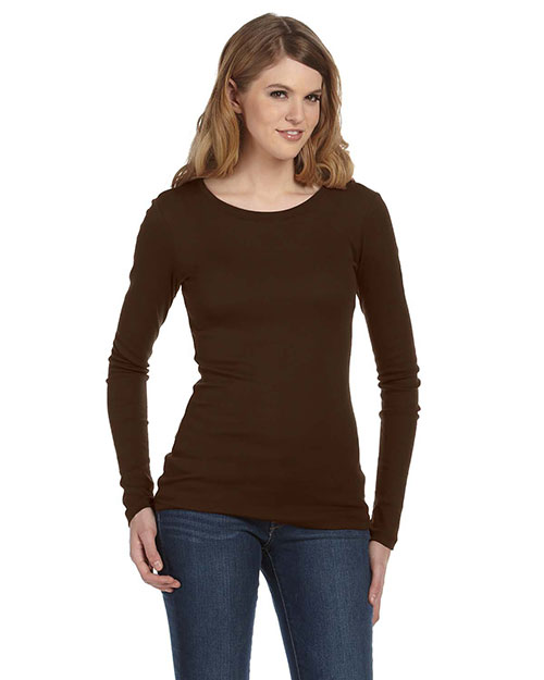 Bella 8751 Ladies' Sheer Mini Rib Long-Sleeve T-Shirt CHOCOLATE at bigntallapparel