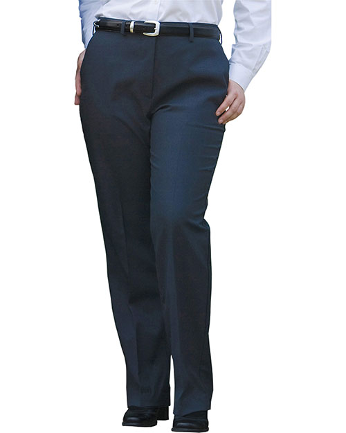 Edwards 8783 Women Wool Blend Flat Front Dress Pant Navy at bigntallapparel
