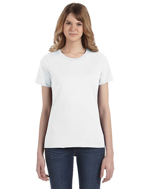 Anvil 880 Ladies' Fashion Fit Ringspun T-Shirt WHITE at bigntallapparel