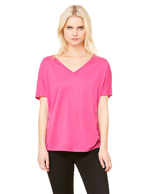 Bella 8815 Women Flowy Simple V-Neck T-Shirt Berry at bigntallapparel