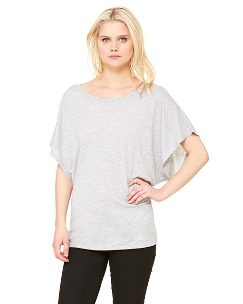Bella 8821 Ladies' Flowy Draped Sleeve Dolman T-Shirt ATHLETIC HEATHER at bigntallapparel