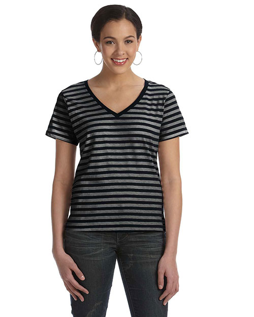 Anvil 8823 Women Striped V-Neck T-Shirt Black/Black/Heather at bigntallapparel