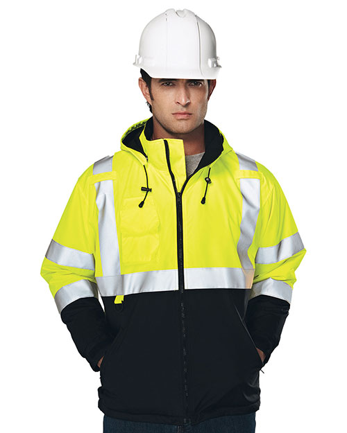 Tri-Mountain 8831 Men 100% Polyester Water-Resistant Fleece-Lined Safety Jacket Lime Green at bigntallapparel