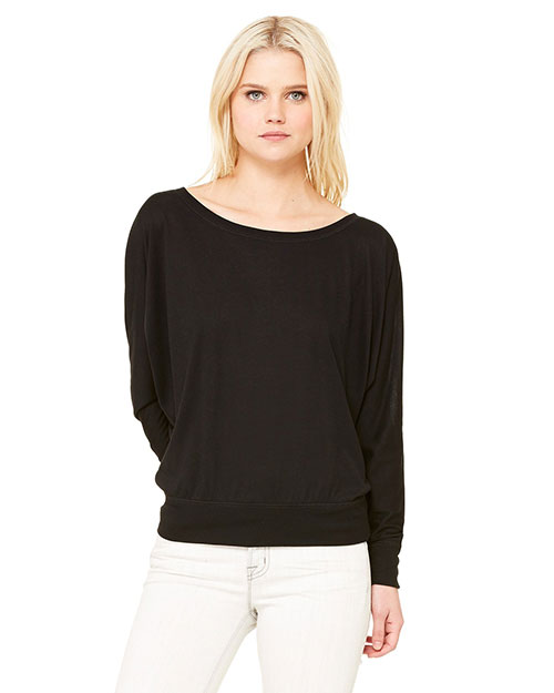 Bella 8850 Ladies' Flowy Long-Sleeve Off Shoulder T-Shirt BLACK at bigntallapparel