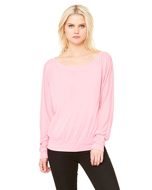 Bella 8850 Ladies' Flowy Long-Sleeve Off Shoulder T-Shirt NEON PINK at bigntallapparel