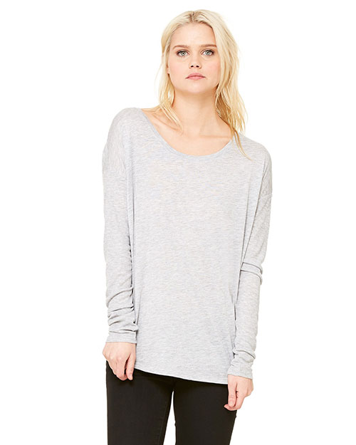Bella 8852 Ladies' Flowy Long-Sleeve T-Shirt with 2x1 Sleeves ATHLETIC HEATHER at bigntallapparel