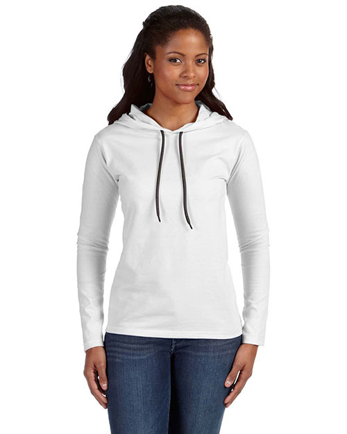 Anvil 887L Ladies' Ringspun Long-Sleeve Hooded T-Shirt WHITE/DARK GREY at bigntallapparel