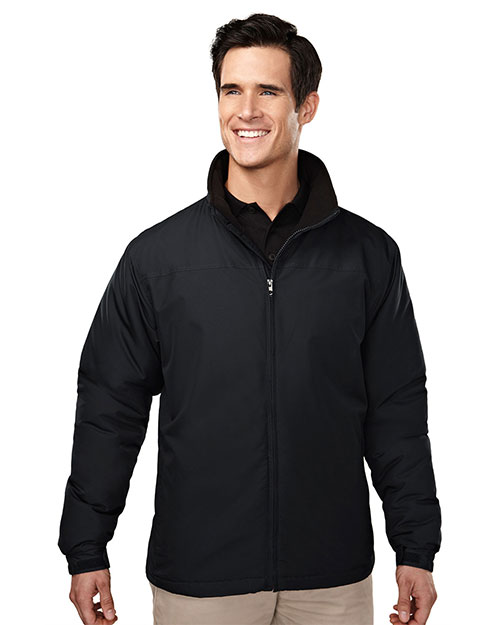 Tri-Mountain 8880 Men 100% Polyester Long Sleeve Jacket With Water Resistent Black/Black at bigntallapparel