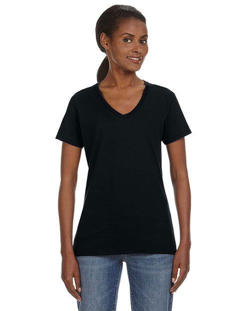 Anvil 88VL Women Ringspun V-Neck T-Shirt Black at bigntallapparel