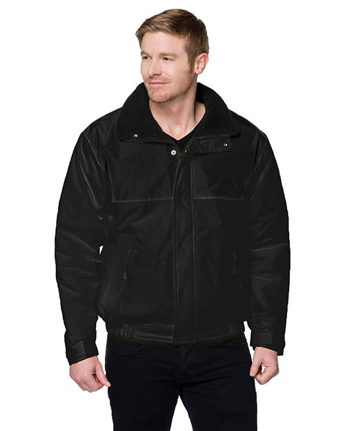 Tri-Mountain 8900 Big and Tall Mens  Colorblock Nylon Jacket With Fleece Lining Black at bigntallapparel