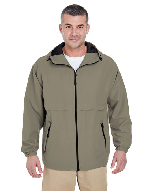 Ultraclub 8908 Hooded Zip Jacket Tan at bigntallapparel