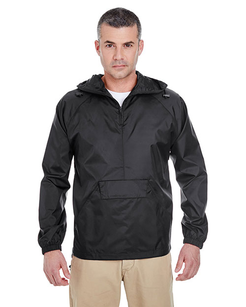 Ultraclub 8925 Packaway Jacket Black at bigntallapparel