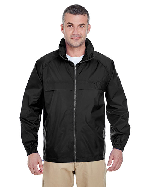 Ultraclub 8929 Zip Packaway Jacket Black at bigntallapparel