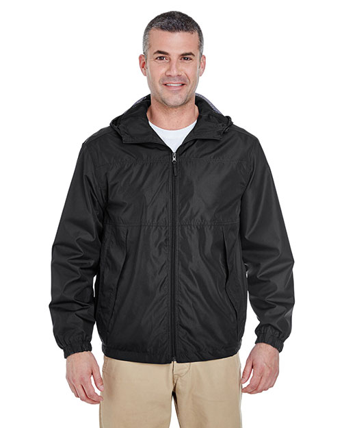 Ultraclub 8935 Men Micropoly Fullzip Jacket With Hood Black at bigntallapparel