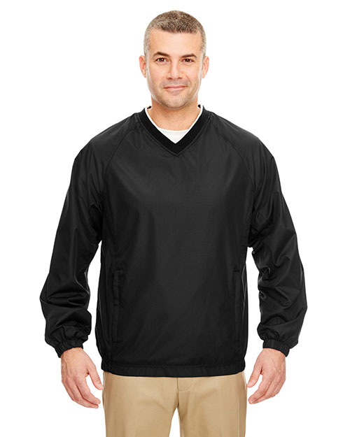 Ultraclub 8937    ® Adult Micro-Poly Windshirt  Black/ White at bigntallapparel