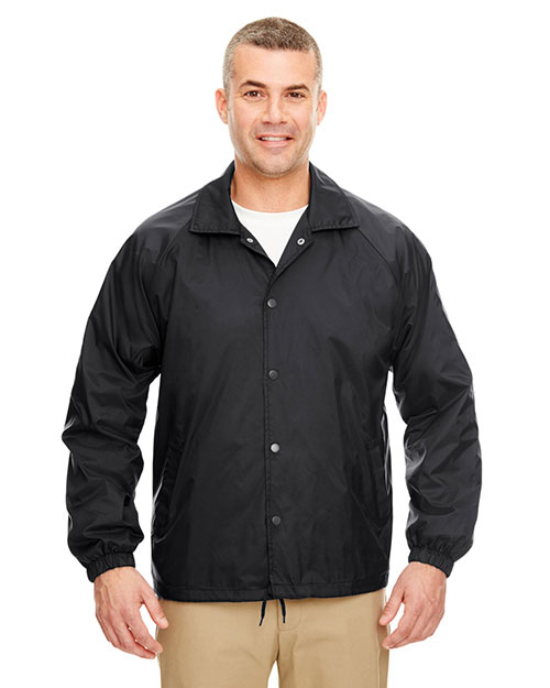Ultraclub 8944 Nylon Coaches Jacket Black at bigntallapparel