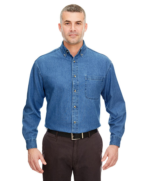 Ultraclub 8960T Men Tall Longsleeve Cypress Denim With Pocket Indigo at bigntallapparel