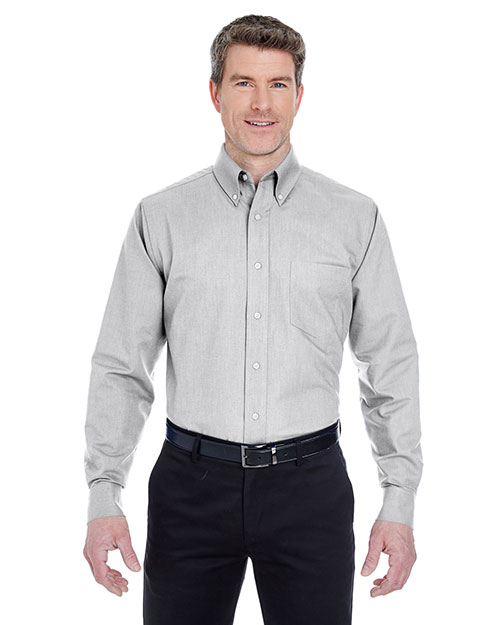 Ultraclub 8970T Men Tall Classic Wrinklefree Longsleeve Oxford Charcoal (60/40) at bigntallapparel