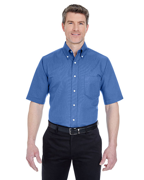 Ultraclub 8972T    ® Men's Tall Classic Wrinkle-Free Short-Sleeve Oxford  French Blue at bigntallapparel