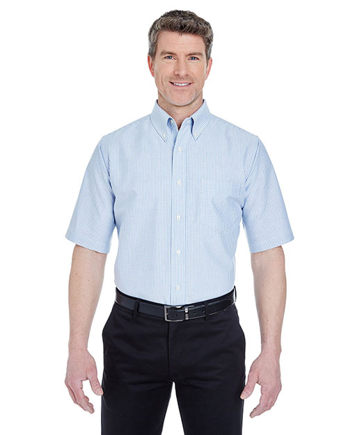 Ultraclub 8972    ® Men's Classic Wrinkle-Free Short-Sleeve Oxford  Blue/ White at bigntallapparel