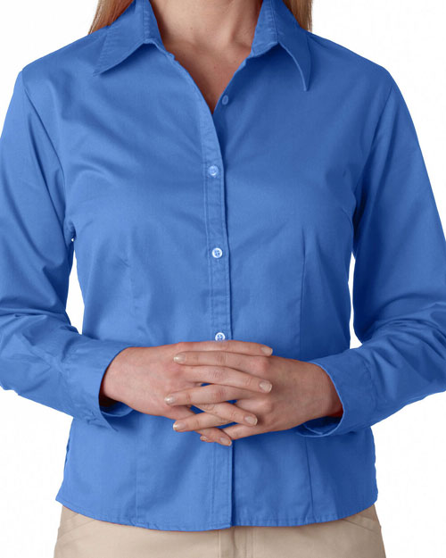 Ultraclub 8976    ® Ladies' Whisper Twill Shirt  Cornflower at bigntallapparel